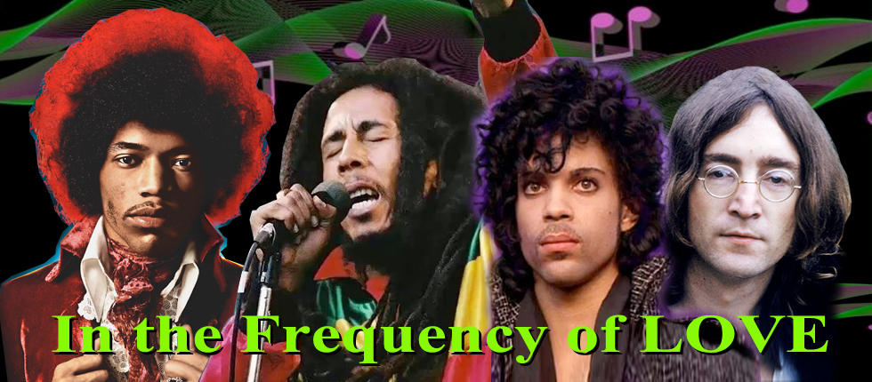 A portrait of Hendrix, Marley, Prince and Lennon in the Frequency of LOVE.
